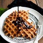 Orange cinnamon Belgian waffles with dark chocolate hot fudge | Cape ...