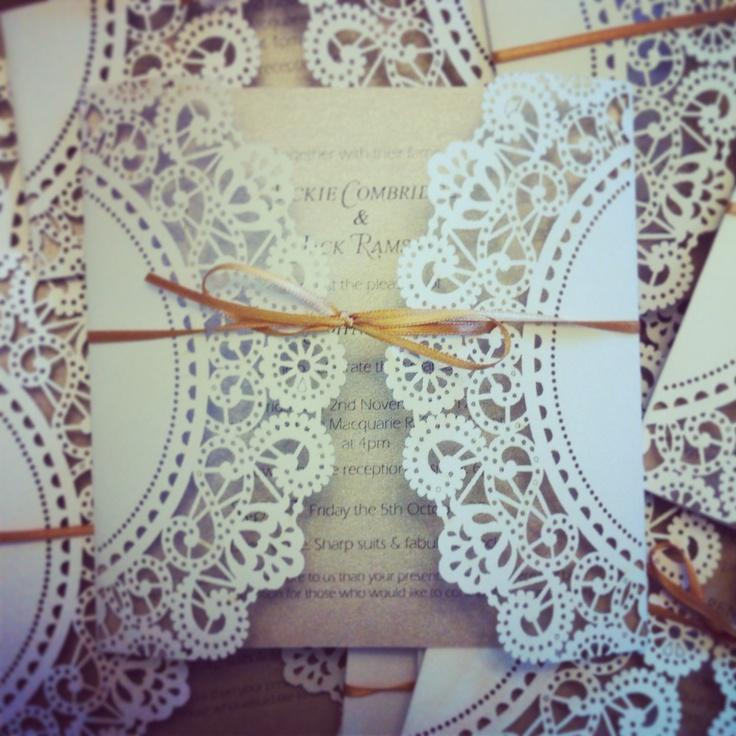 Lovely lace & latte wedding invitations for nearest & dearest  www.frianki.com https://frianki.etsy.com