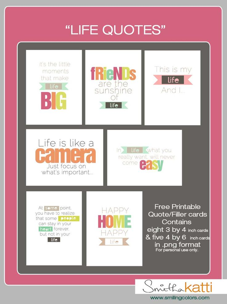 """Free """"Life Quote"""" Journal Cards from Smitha Katti #projectlife"""