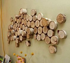 innovative Wanddekoration selber machen brennholz installation