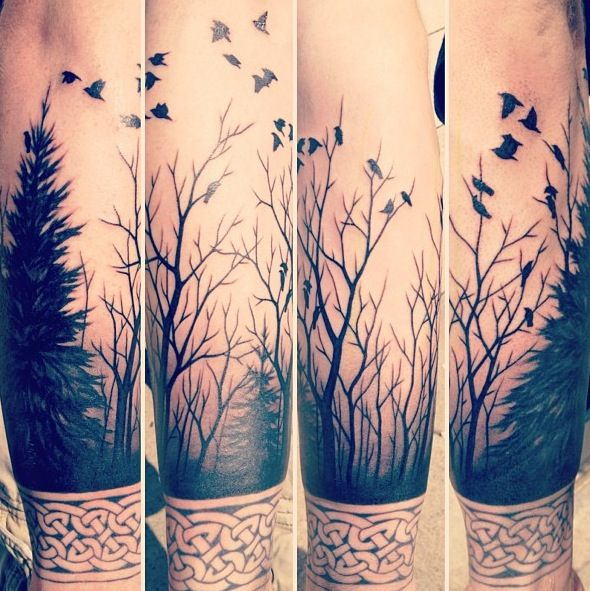 Forest tattoo. THIS WOULD BE A NEAT BACKGROUND FOR MY QUAIL THAT NEEDS TO BE FIXED