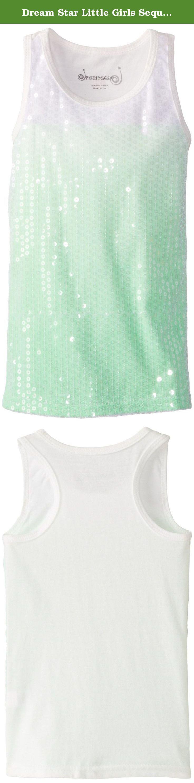 Dream Star Little Girls Sequin Front Dip Dye Tank, Neon Lime, Small/4. Sequin front dip dye tank.