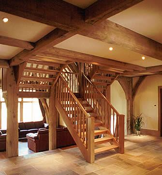 1000 images about stairs on pinterest cedar homes for Timber frame home interiors