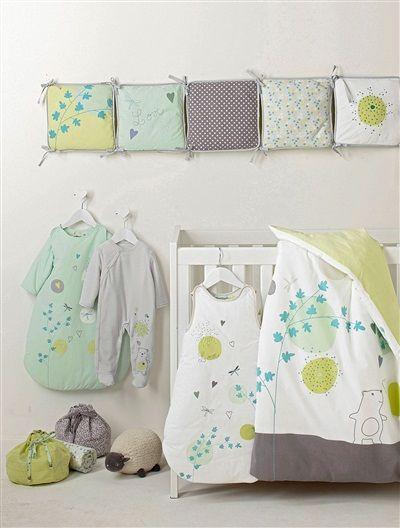 2 sacs de rangement en tissu bébé Conte poétique VERT CLAIR BICOLOR/MULTICOLOR - vertbaudet enfant
