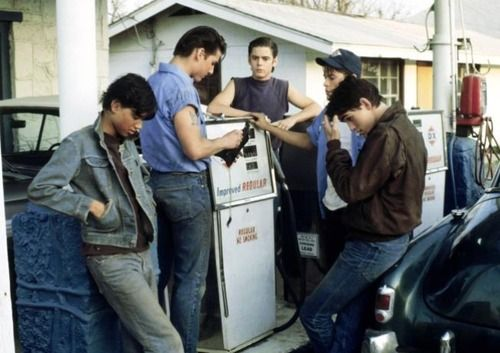"The Outsiders, 1983. Johnny Cade, Steve Randle, Ponyboy Curtis, Sodapop Curtis and Dallas ""fuck me"" Winston."