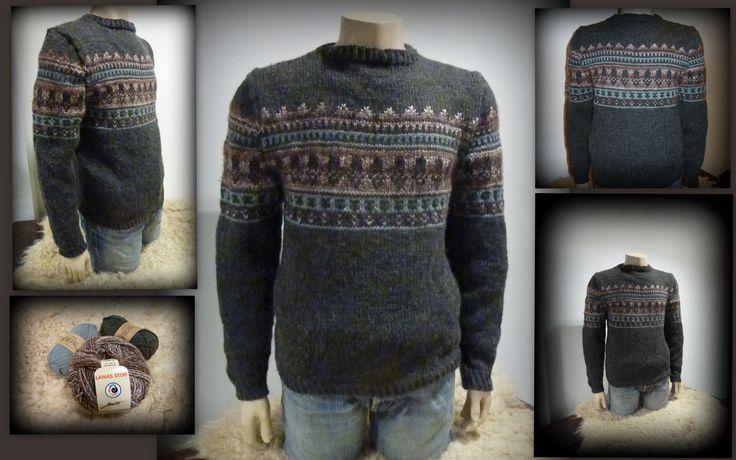 15043* Wat als je puberzoon nu zelf het initiatief neemt om bij ons de kleuren uit te komen zoeken voor een trui die mams voor hem gaat breien?  Dan ben je toch wel erg trots op het eindresultaat!  En wij zijn dat ook. Jammer dat de trui weer mee terug naar zoonlief moest want onze paspop was even een supermodel! Prachtige kleurencombi. http://bloemendalwol.nl/10-garen
