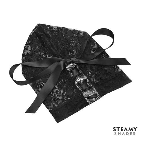 STEAMY SHADES – LACE HOOD  This Lace Hood by Steamy Shades is made of beautiful floral print lace, instantly adds feminine mystique to bondage play, perfect for light bondage play, beginner friendly and one size fits all.  The black lace-up ribbon is on the back of the head ensuring a comfortable fit.