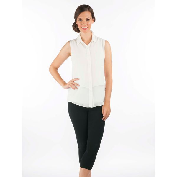 Double-Layered Button Up Sleeveless Top