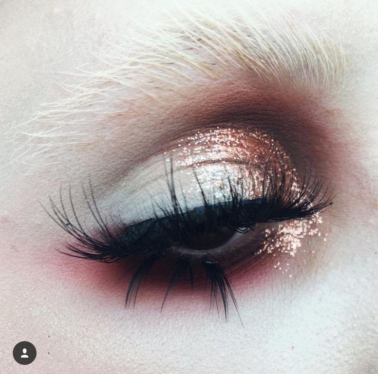 Rose gold and pink eye makeup