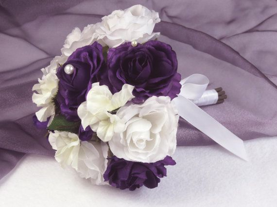 Very Cute Small Bridal Bouquet -Purple And White Roses-Silk Flowers. $29.00, via Etsy.