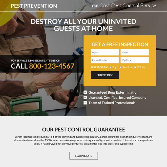 Minimal Pest Prevention Responsive Landing Page Design Pesticides Pestcontrol Peston Products Marketing Busi Landing Page Design Page Design Landing Page