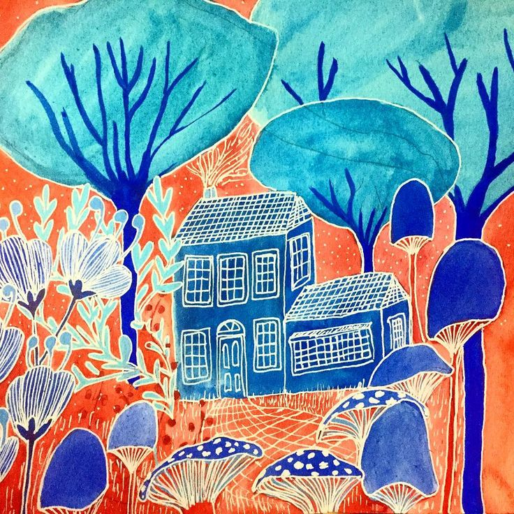 Blue House In the Wild Woods  - Illustrated by Clay horses Design     #blue #house  #woodland #red #mushroom #tinyhouse #hidden #trees #plants #flowers #bluehouse #drawing #illustration #watercolor #ink