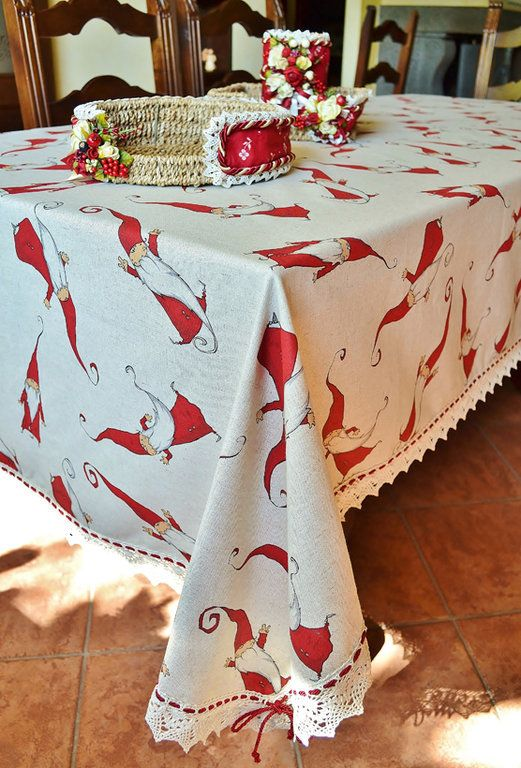 GNOME TABLE CLOTH - PatriziaB.com  Adorable table cloth made with a fine linen blend fabric. The fun set of amusing little men will lighten up with style your holiday table