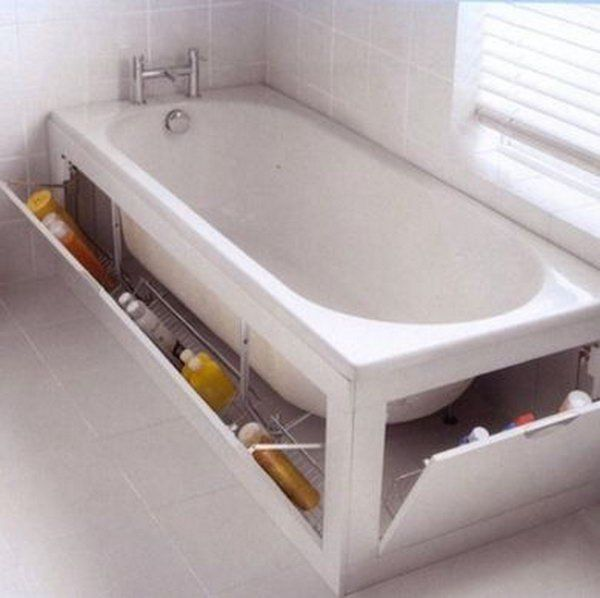 The built in cabnet surrounding this tub provides enough space for extra cleaning sponges, shampoo, and soap.