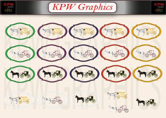 Wedding Horse and Carriage Clipart Set in a PNG by KPWgraphics