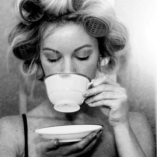 Morning coffee and curlers.