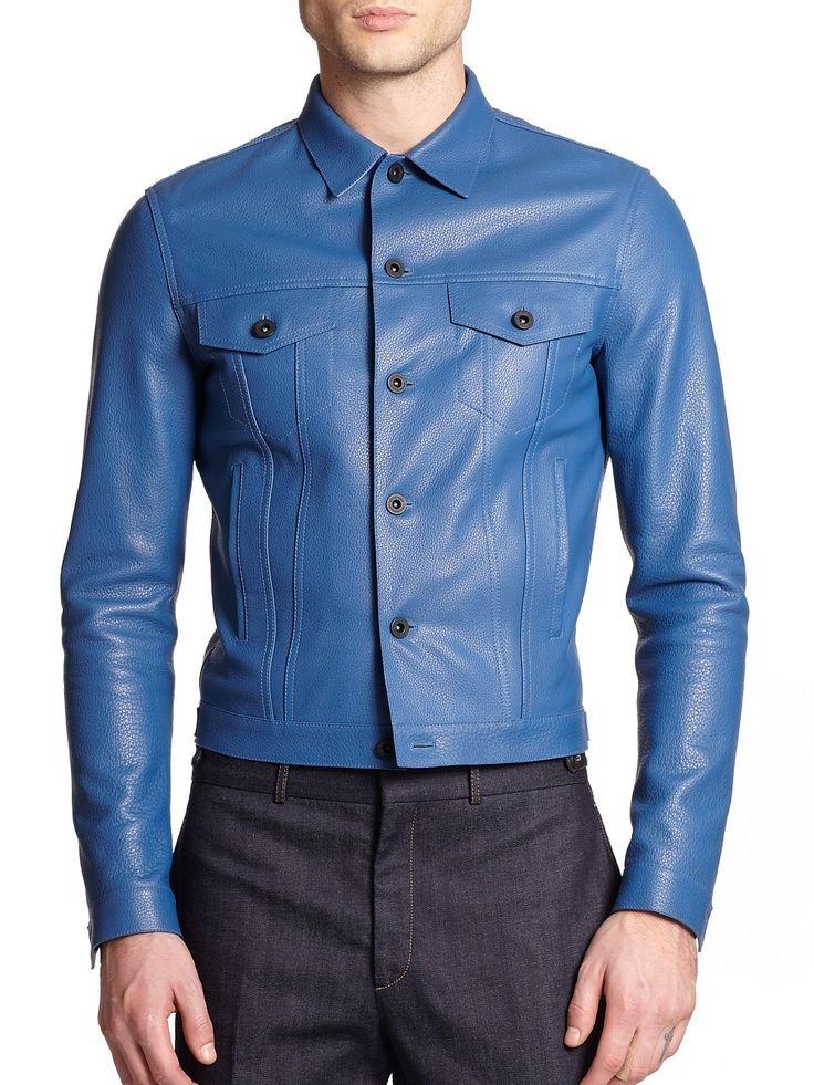 HANDMADE MENS BLUE LEATHER JACKET, MEN BLUE BIKER LEATHER JACKET - Outerwear