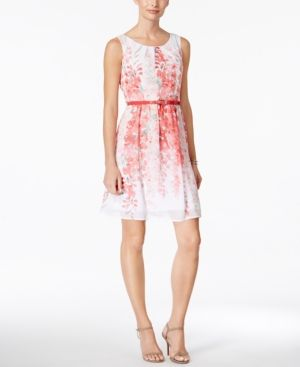 Connected Petite Belted Floral-Print A-Line Dress - Pink 12P