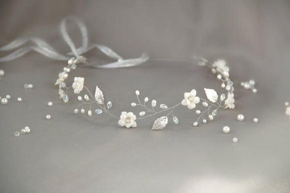 Hey, I found this really awesome Etsy listing at https://www.etsy.com/listing/238644518/bridal-hair-vine-flower-crown-silver