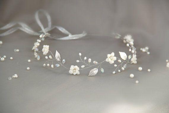 FAVORITE  silver leaf hair vine silver leaf headband bridal by petals181