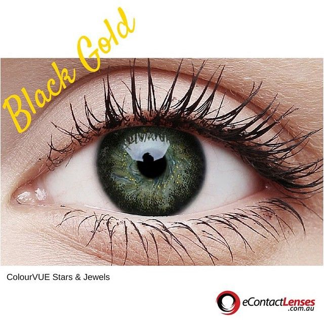 Stars & Jewels range in the Black Gold. The Stars & Jewels range makes your eyes shimmer and sparkle. We love the dark black ring around the outside with beautiful specs of gold on the inside. #colouredcontactlenses #costume #dressup #beauty #eyes #shoppingaustralia #party #beautiful #fashion #australia #pretty #style