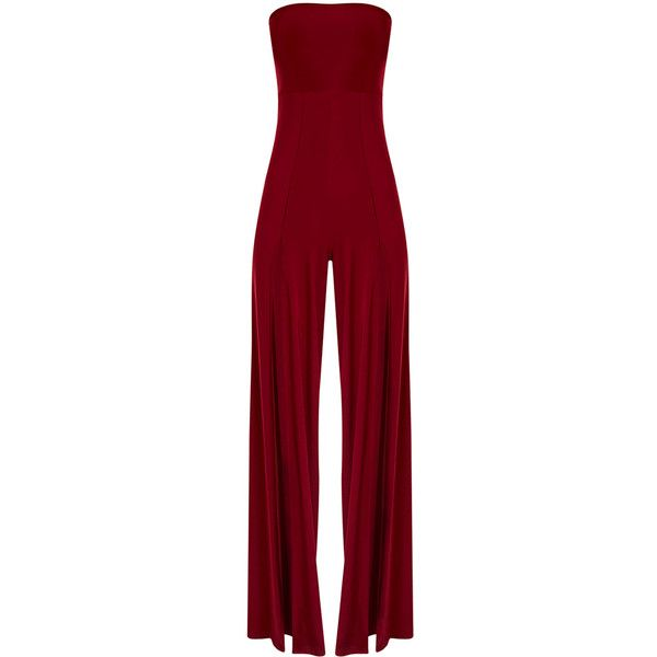 Tori Black Front Thigh High Split Slinky Bandeau Jumpsuit ($23) ❤ liked on Polyvore featuring jumpsuits, sexy jumpsuits, sexy jump suit, jump suit and bandeau jumpsuit
