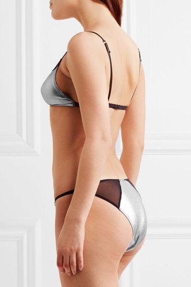 Elle Macpherson Body - Slick Lace-trimmed Metallic Stretch-satin Soft-cup Bra - Silver