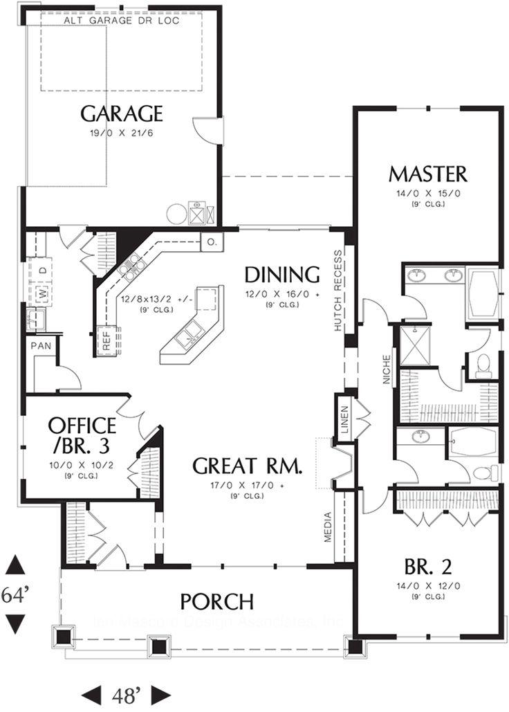 Craftsman 3 Beds 2 Baths 1891 Sq/Ft Plan #48-415 Main Floor Plan - Houseplans.com