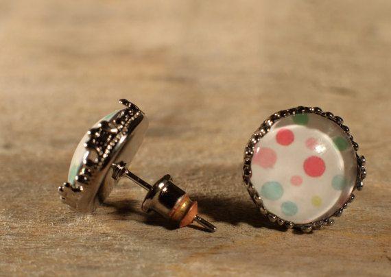 Boucles d'oreilles en verre Cabochons Boutons par MrAndMrsBeaver