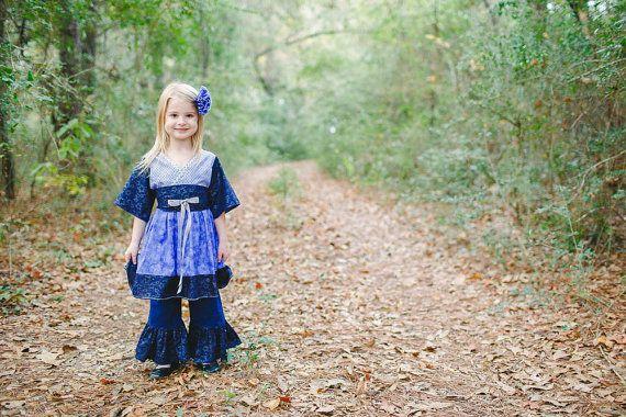 Girls Hanukkah Dress and Pants Set  Blue Dresses  by PinkMouseKids