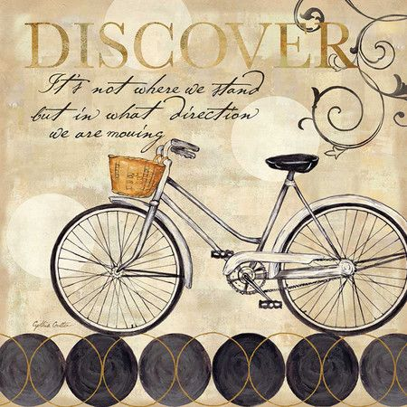 Canvas print of a bicycle with typographic details.   Product: Canvas artConstruction Material: CanvasDi...