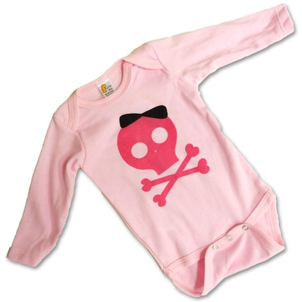 Pink Pirate Baby Bodysuit! Adorable pink skull and crossbones baby outfit, available at ... https://www.purepirate.com/pink-pirate-baby-bodysuit