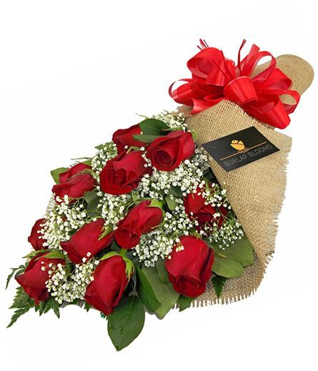 Burlap Blooms: Red Roses in ElmhurstIL, Pfund & Clint Florist