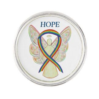 Rainbow Awareness Ribbon Angel Custom Lapel Pin