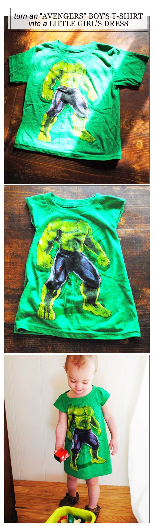 "In case you've got a little girl who also loves superheroes, here's how to turn an ""Avengers"" boy's T-shirt into a little girl's dress 
