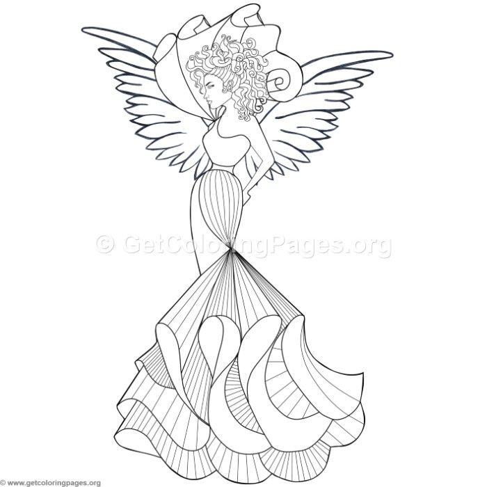 Free Download Fashion Angel Coloring Pages Coloring Coloringbook