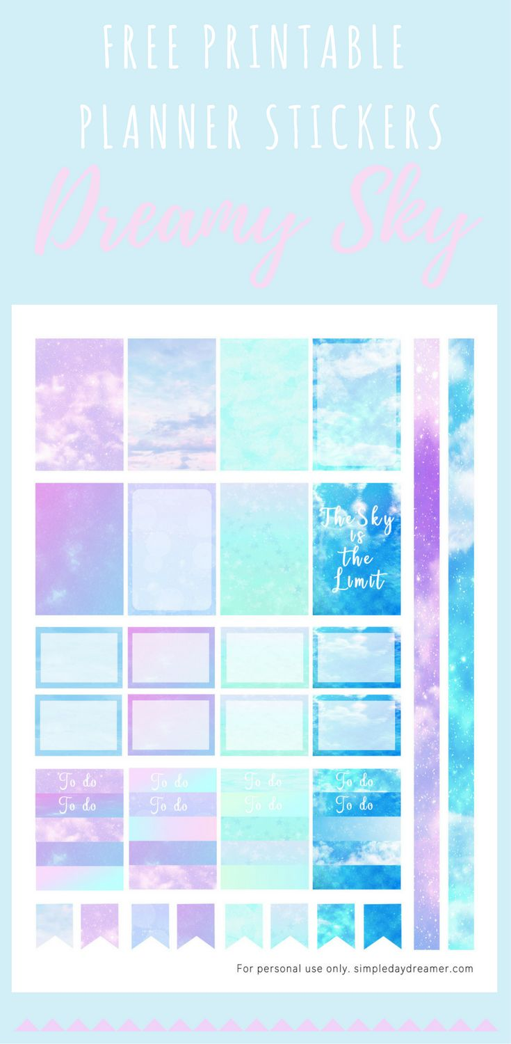 Looking for something to add to your planner? Get your FREE printable planner stickers today! Print as many as you want :)   *FREE* Planner Stickers Dreamy Sparkling Sky – Simple Daydreamer