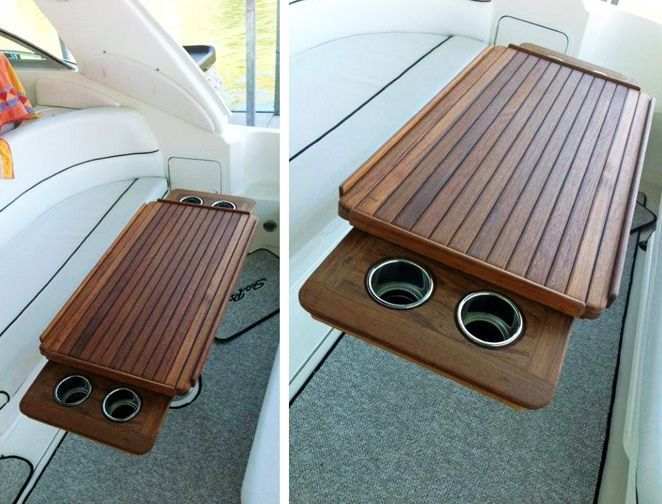 Nt27 Marine Teak Table With Fiddles And Retractable Cup Holders Fishingboataccessories Boat Decor Boat Table Boat Interior