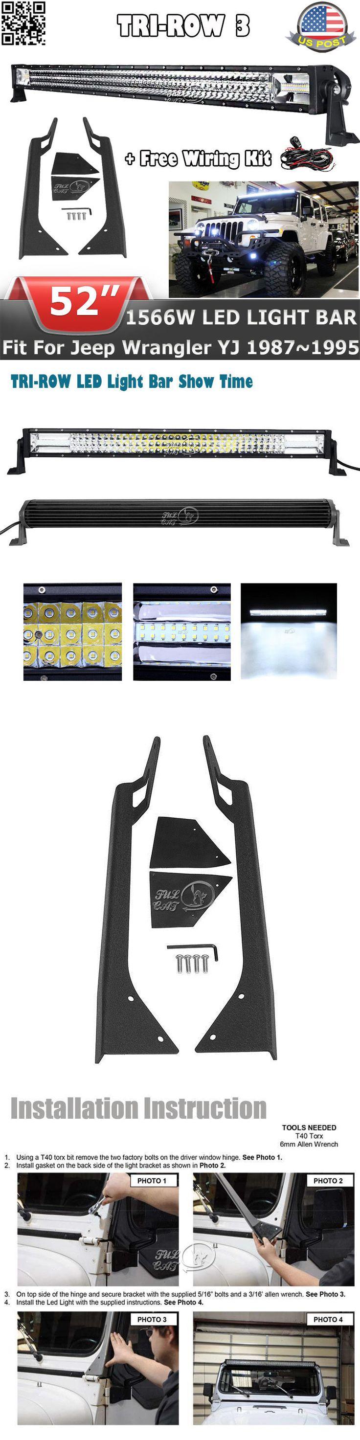Car Lighting: Tri-Row 52 Inch 1566W Led Light Bar+Mount Bracket Fit For Jeep Wrangler Yj 87~95 -> BUY IT NOW ONLY: $179.99 on eBay!