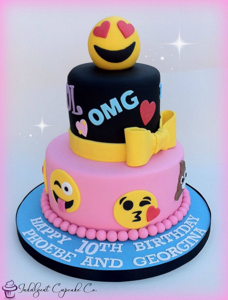 Pink and Black Emoji Sparkle Cake - Emoji cake ideas and dessert inspiration for an Emoji Party. From birthday and graduation parties to school events, an emoji party theme is fun for all! LivingLocurto.com