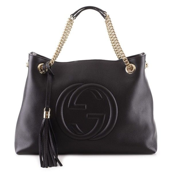 Gucci Black Double Chain Bag Soho found on Polyvore