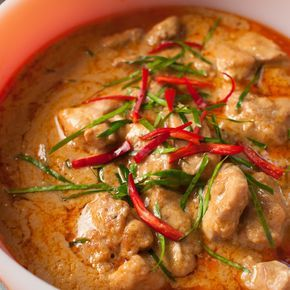 Thailand Panang Curry with Chicken Recipe Main Dishes with panang curry paste, cooking oil, coconut milk, boneless chicken breast, palm sugar, fish sauce, kaffir lime leaves, red chili peppers, thai basil