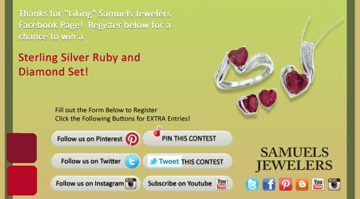 I just entered the Samuels Jewelers' 'Celebrate the Holidays' Contest. Click this Pin to see how to enter to win a  Sterling Silver Ruby and Diamond Set.