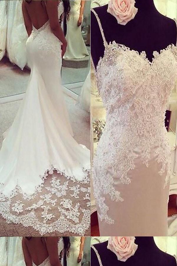 Discount Trendy Mermaid Wedding Dress Spaghetti Straps Trumpet