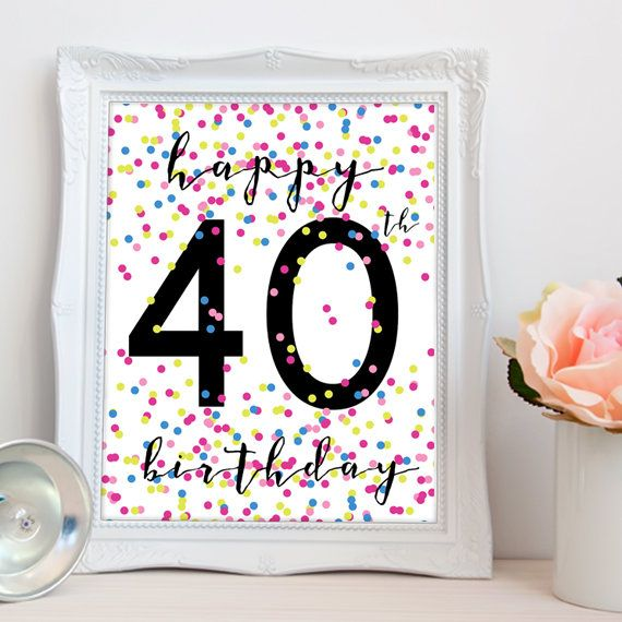 Happy 40th birthday PRINTABLE printable happy 40th sign
