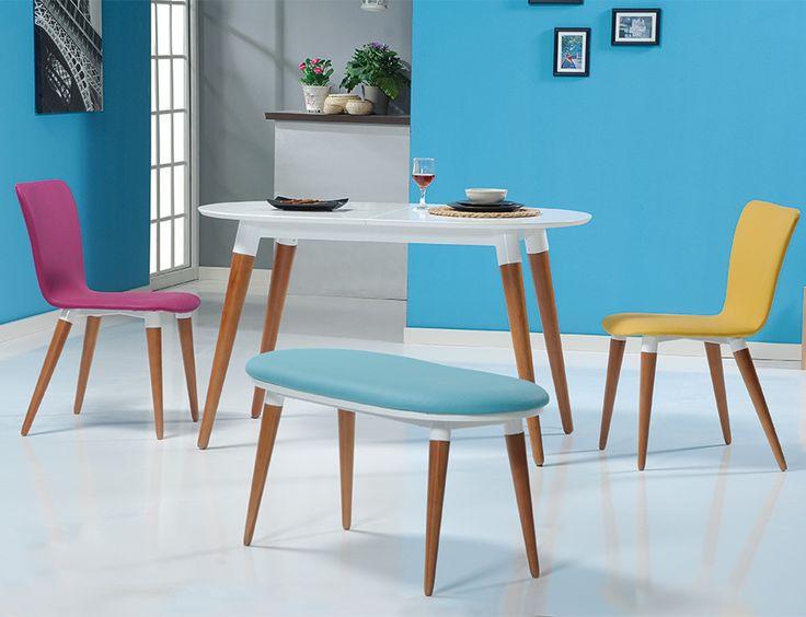 Bari Renkli Beyaz Mutfak Masa Takımı
