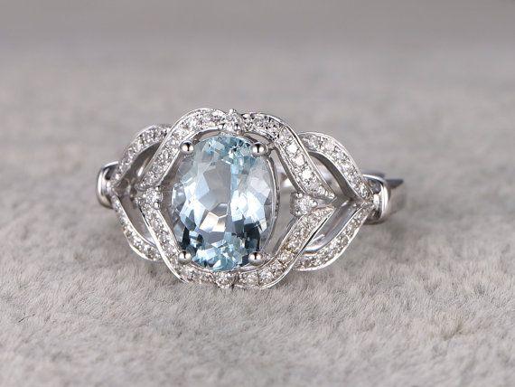 Anello di fidanzamento di acquamarina blu con diamanti, 14k & 18K rosa/giallo/bianco oro disponibile. Ogni gioielli nel mio negozio deve fare ordinare.  [Dettagli]  Anello di fidanzamento: Solid 14k White Gold (può essere fatto in oro bianco/giallo/rosa)  Dimensione 6# (anello può essere ridimensionata)  2.35ctw taglio ovale naturale se blu acquamarina  0.27ctw tondo taglio VS-H naturale conflitto diamanti gratis.  Forcone, spianare Set  ------ Banda corrispondente può essere fatta per…