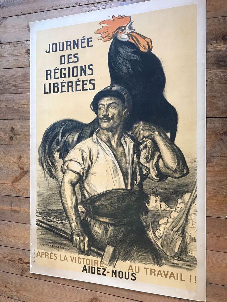 GUERRE 14-18 Affiche Leroux JOURNÉE DES RÉGIONS LIBÉRÉES 1919