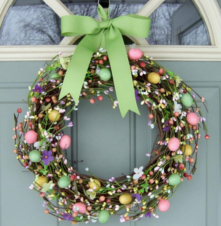 "Easter Wreath - Spring Wreath - Easter Egg Wreath. 18"" @46.00, via Etsy."