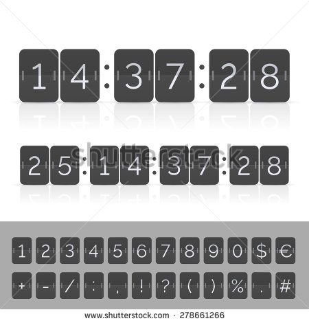 Black countdown timer and scoreboard numbers. Vector EPS10 illustration